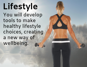 Lifestyle - Barbara with weights discussing the tools needed to make a healthier lifestyle.