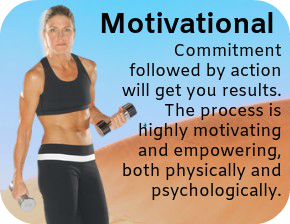 Motivational - Barbara Blackburn with weights discussing commitment